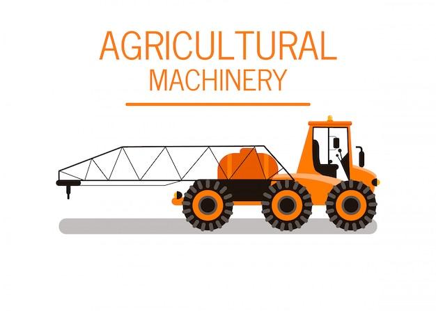 Illustrazione di vettore di colore del trattore di spruzzatura del raccolto