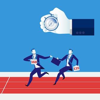 Illustrazione di vettore di concetto della corsa di relè di affari
