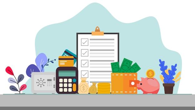 Illustrazione di vettore di concetto di affari e finanza nella progettazione di stile piano
