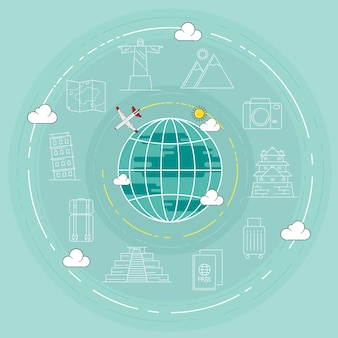Illustrazione di vettore di concetto di punto di riferimento di viaggio.