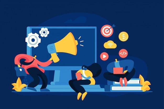 Illustrazione di vettore di concetto di strategia di marketing digitale