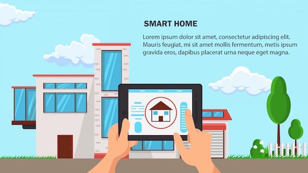 Illustrazione di vettore di design piatto casa intelligente.