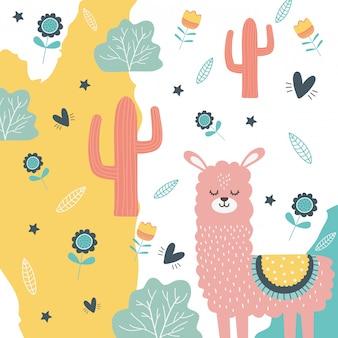 Illustrazione di vettore di disegno del fumetto del lama