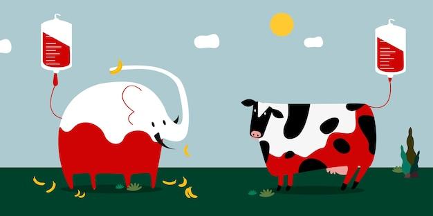 Illustrazione di vettore di donazione di sangue animale