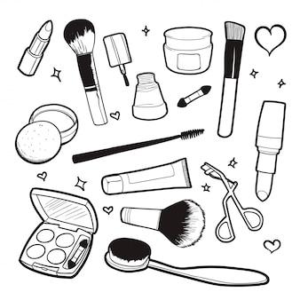 Illustrazione di vettore di doodle cosmetico