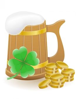 Illustrazione di vettore di giorno del `s di st patrick delle monete e del trifoglio della birra del mag