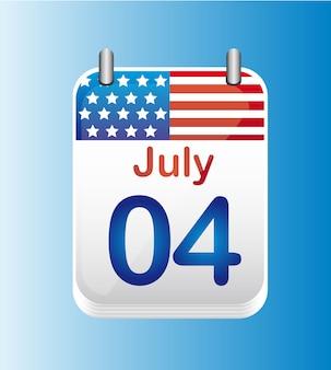 Illustrazione di vettore di giorno di indipendenza del 4 luglio del calendario