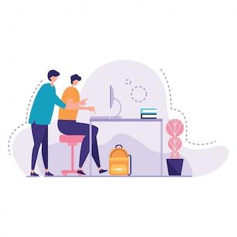 Illustrazione di vettore di help young student dell'insegnante