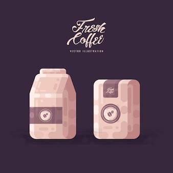 Illustrazione di vettore di imballaggio della borsa del chicco di caffè