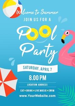 Illustrazione di vettore di invito festa in piscina.