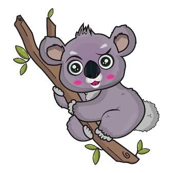 Illustrazione di vettore di koala carino con sfondo bianco