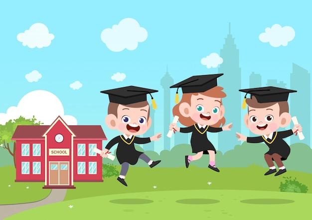 Illustrazione di vettore di laurea bambini