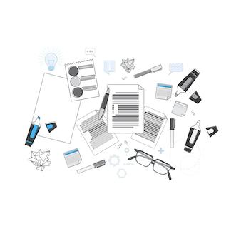 Illustrazione di vettore di linea di vista superiore dello scrittorio del posto di lavoro dell'ufficio cima sottile