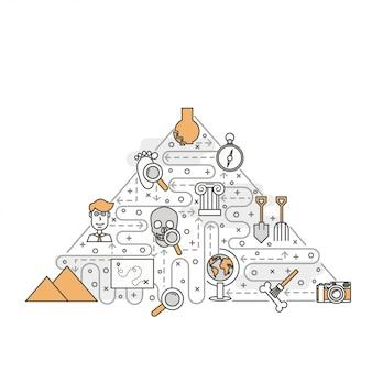 Illustrazione di vettore di linea sottile arte archeologia