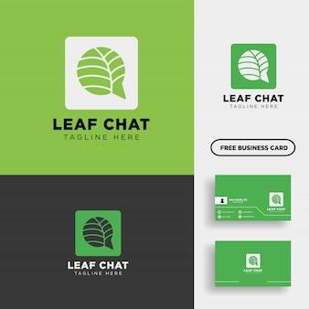 Illustrazione di vettore di logo del messaggio di chiacchierata della foglia o della natura