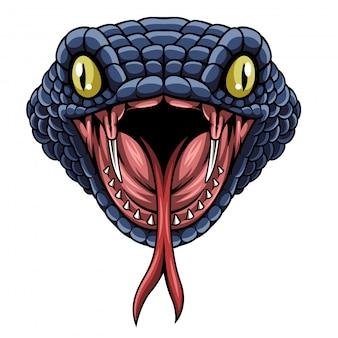 Illustrazione di vettore di logo design mascotte testa di serpente