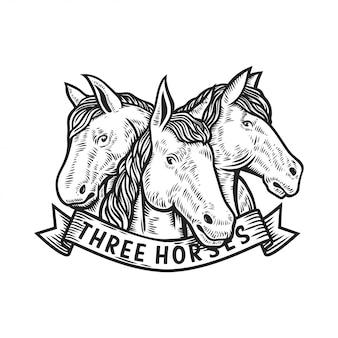Illustrazione di vettore di logo di tre cavalli