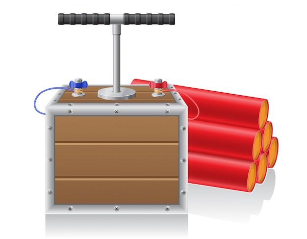 Illustrazione di vettore di miccia e dinamite detonante