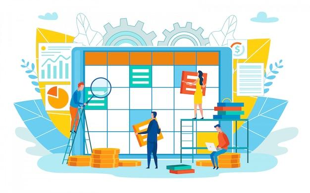 Illustrazione di vettore di pianificazione di giorno del personale di ufficio.