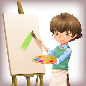 Illustrazione di vettore di progettazione di carattere della pittura del ragazzino