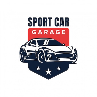 Illustrazione di vettore di progettazione di logo del distintivo dell'automobile sportiva