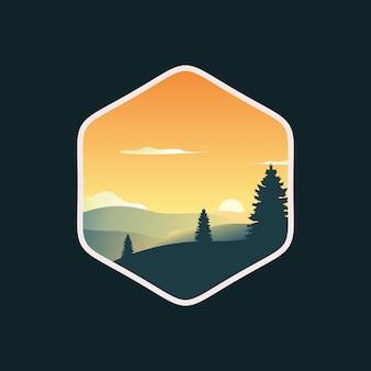 Illustrazione di vettore di progettazione di logo del paesaggio dei pini di tramonto