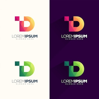 Illustrazione di vettore di progettazione di logo del pixel della lettera d