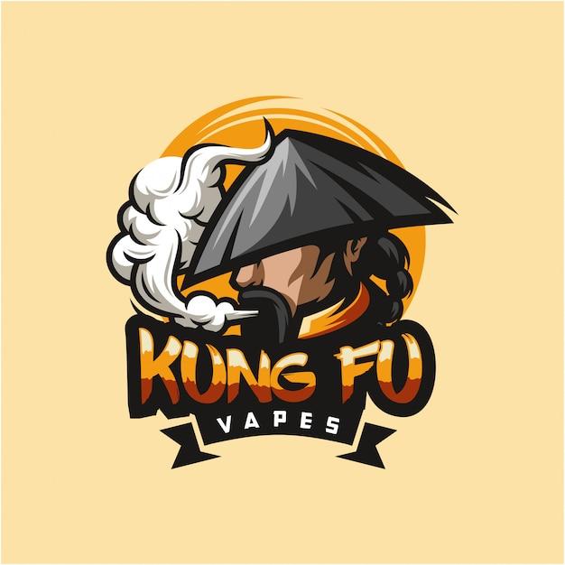 Illustrazione di vettore di progettazione di logo del vape di kungfu