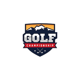 Illustrazione di vettore di progettazione di logo dell'emblema del distintivo di golf