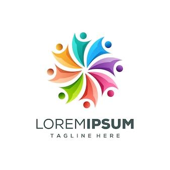 Illustrazione di vettore di progettazione logo persone