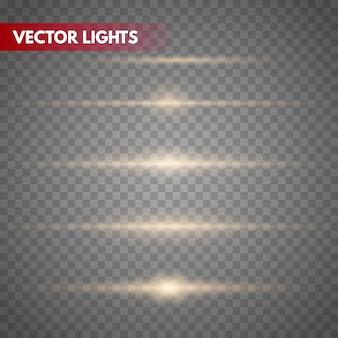 Illustrazione di vettore di razzi lente oro splendi la luce delle stelle isolata. effetto luce incandescente