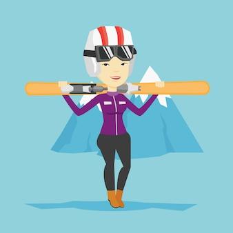Illustrazione di vettore di sci della tenuta della donna.