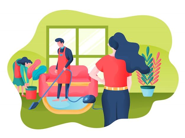 Illustrazione di vettore di servizio di pulizia