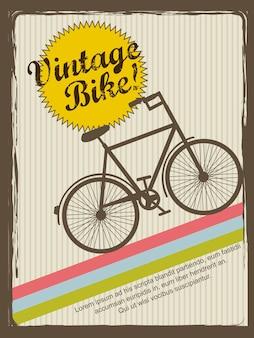Illustrazione di vettore di stile dell'annata di annuncio dell'annata di bici vintage