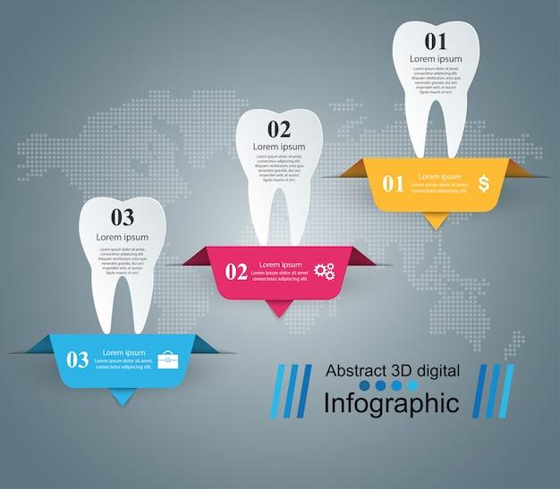 Illustrazione di vettore di stile di origami dentale di infographics.