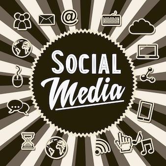 Illustrazione di vettore di stile vecchio sfondo vintage di media sociali