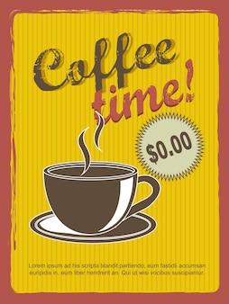 Illustrazione di vettore di stile vintage annoucement di tempo del caffè
