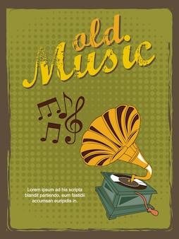Illustrazione di vettore di stile vintage di vecchia musica annuncio