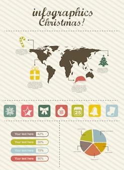Illustrazione di vettore di stile vintage natale infografica