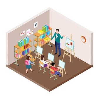 Illustrazione di vettore di studio d'arte per bambini.