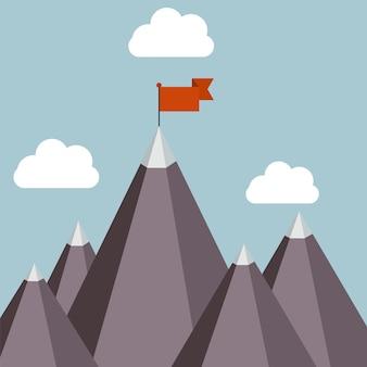 Illustrazione di vettore di successo - cima della montagna con la bandiera rossa.