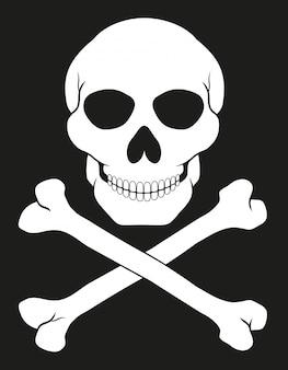 Illustrazione di vettore di teschio e ossa incrociate del pirata