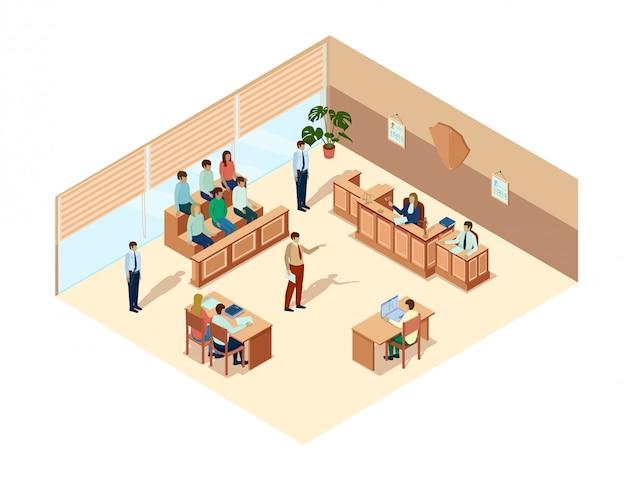 Illustrazione di vettore di udienza della corte dell'insegna piana.