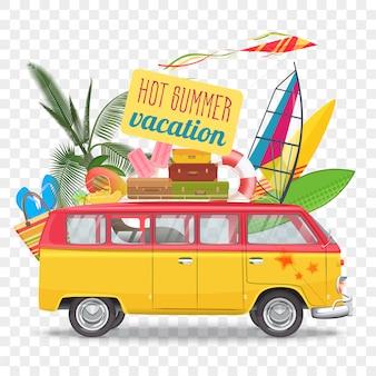 Illustrazione di vettore di viaggio estivo con bus
