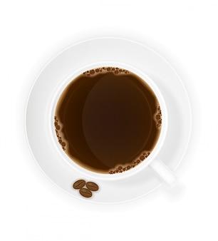 Illustrazione di vettore di vista superiore dei chicchi e della tazza di caffè