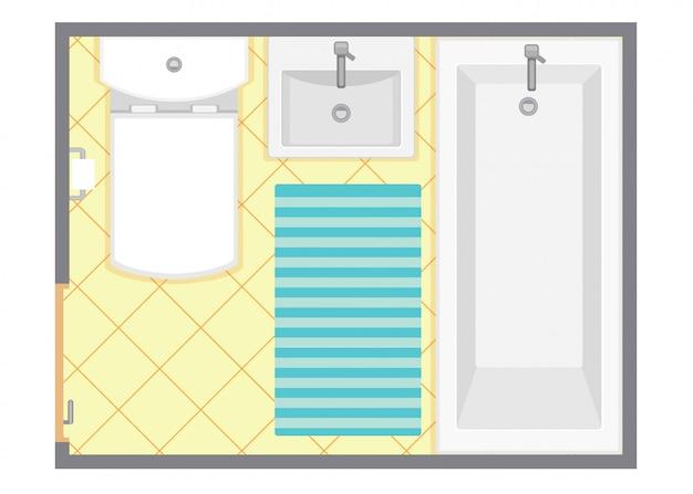 Illustrazione di vettore di vista superiore interna del bagno. pianta del bagno. design piatto.
