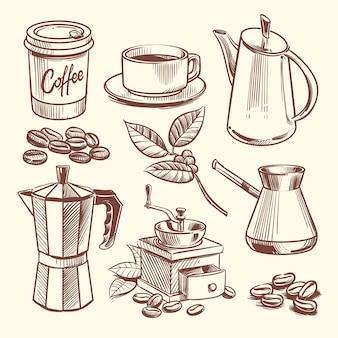 Illustrazione di vettore disegnato a mano tazza di caffè, fagioli, foglie, caffettiera e macinacaffè