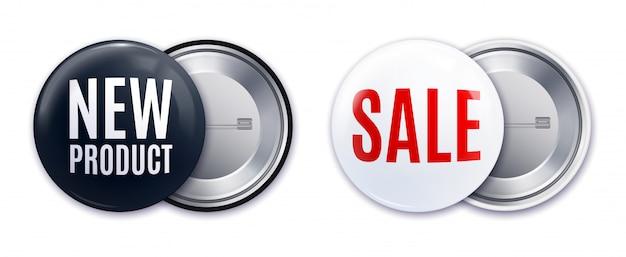 Illustrazione di vettore isolata insieme bianco nero realistico del distintivo del nuovo prodotto
