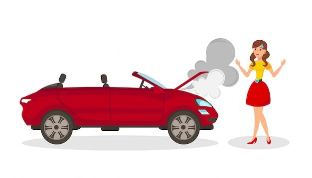 Illustrazione di vettore isolata piano incidente di auto