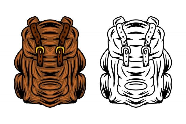 Illustrazione di vettore isolata retro borsa d'annata dello zaino di viaggio